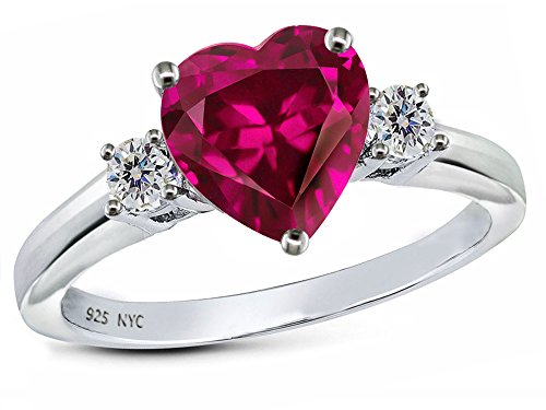 Star K 8mm Heart Shape Created Ruby Ring Sterling Silver Size 5.5
