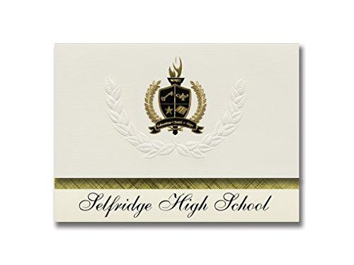 Signature Announcements Selfridge High School (Selfridge, ND) Graduation Announcements, Presidential style, Basic package of 25 with Gold & Black Metallic Foil - Selfridge.com