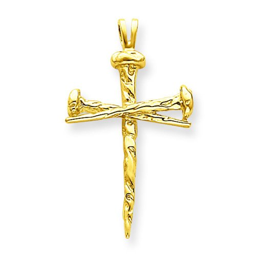 14K Yellow Gold Nail Cross Charm Pendant Jewelry 14k Yellow Gold Nail
