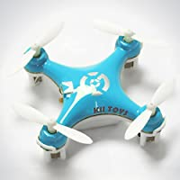 KiiToys Quadcopter Drone RC Helicopter Quad Copter Toy - Micro Mini Nano Size - 3D Flip Air Light Show - 6 Axis Gyro - 4 Channels Radio Control - 2.4 ghz 100 ft range - Smallest QuadCopter in the world with KiiToys Warranty + Tech Support (BLUE)