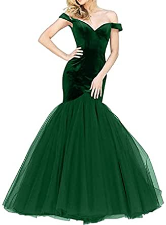 SOB Women's Tulle Off the Shoulder Mermaid Prom Dress 2017 Sexy Long Evening Party Gowns SOB207