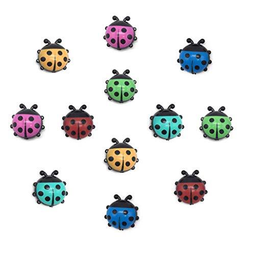 JMAF Ladybug Refrigerator Magnets Kitchen Magnets Office Magnets for Whiteboard & Dry Erase Board, Cute and Colorful Insect Design (12pcs per Set) (Ladybug)