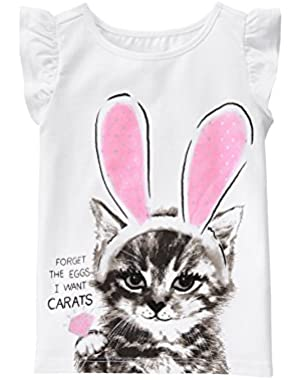 Baby Toddler Girls' Kitten with Bunny Ears Graphic