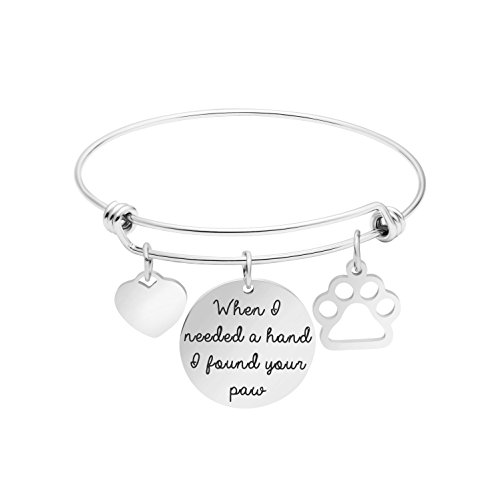 Dog Lover Gifts for Women Expandable Bracelet Adjustable Wire Bangle Jewelry Inspiraitonal Gifts for Women Charm Pendant (When I Need a Hand I Found Your (Best Jewelry Gifts For Lovers)