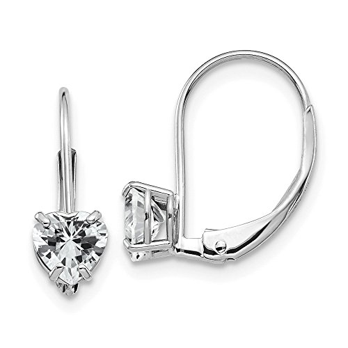 - 14k White Gold 5mm Heart Cubic Zirconia Leverback Earrings Lever Back Love Drop Dangle Gemstone Prong Fine Jewelry Gifts For Women For Her