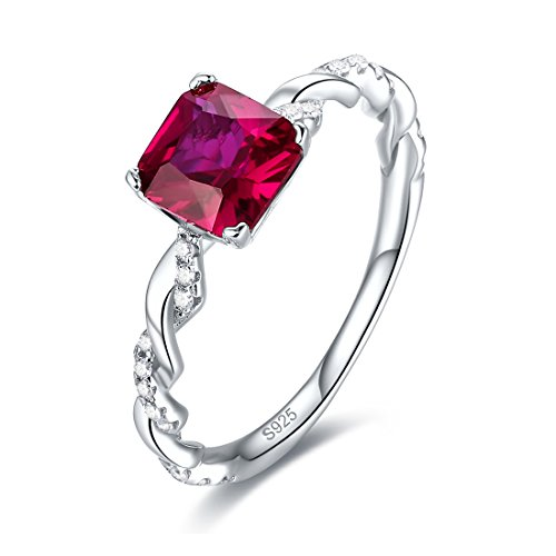 terling Silver Rope Band Created Ruby Ring (Silver Birthstone Ring)