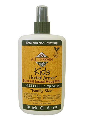 (All Terrain Kids DEET-Free Herbal Armor Insect Repellent, 8 Ounce, Safe for Sensitive Skin, Effective Bug Spray Formula with Natural Essential Oils, Great for Travel, Camping, Outdoor Activities)