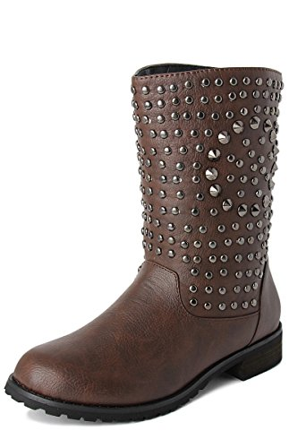 TheMogan Women's Spike Studded Vegan Leather Mid Calf Ankle Boots