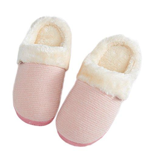 Ciabatta Invernale Simpatico Foderato In Pelliccia Morbida Calda Delle Pantofole In Cotone Per La Casa Antiscivolo Per Le Donne Rosa