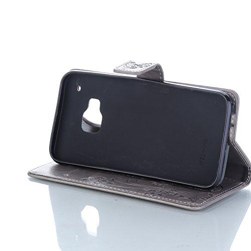 Funda HTC One M9 OuDu Carcasa de Billetera Funda PU Cuero Carcasa Suave Protectora con Correas de Teléfono Funda Arbol Flip Wallet Case Cover Bumper Carcasa Flexible Ligero Ultra Delgado Caja Anti Ras Gris-Plata