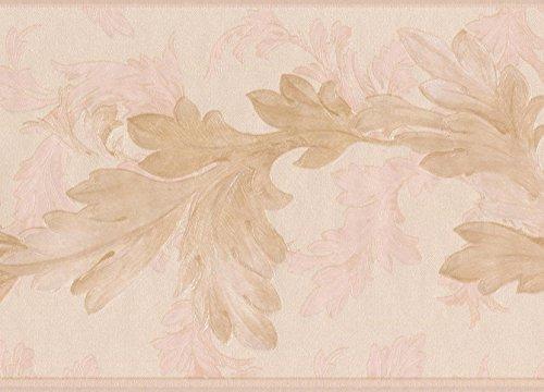 (Ivory Pale Pink Leaves on Vine Floral Wallpaper Border Retro Design, Roll 15' x 6.75'')