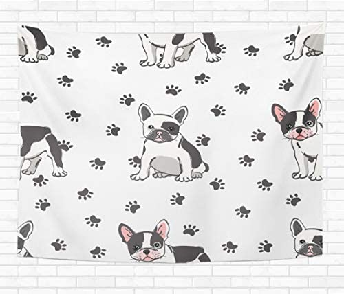 Assp Tapestry Dog Cute French Bulldog Adorable Best Black Cartoon Charming 60×80 Inches Home Decorative Wall Hanging Tapestries for Living Room Bedroom Dorm
