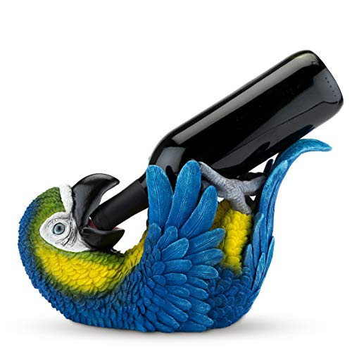 True 5301 Polyresin Parched Parrot Bottle Holder, Blue, Yellow, and Black
