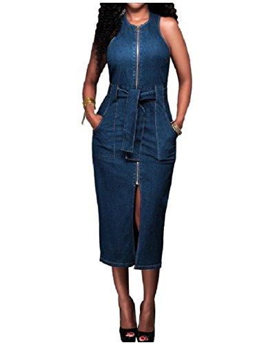 カフェ理想的平手打ちTootess ジッパーポケットファッションデニムロングドレスを着た女性のスプリット?ジーンズ