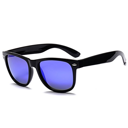 MRODM Wayfarer Sunglasses Unisex Polarized Mirror Lens UV Protection Black Large 55mm-Blue - Sunglasses Online Dark