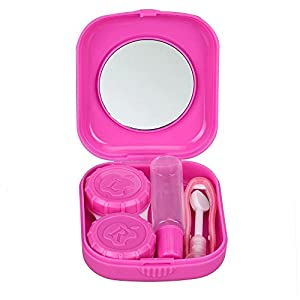 VIPASNAM-Travel Outdoor Cute Mini Storage Contact Lens Holder Case Mirror Box Container (pink)
