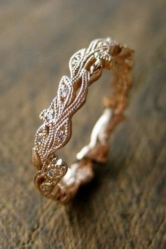 10 Chewa Shop Vintage 18K Rose Gold White Sapphire Flower Buds /& Leafs Ring Women Jewelry Gift