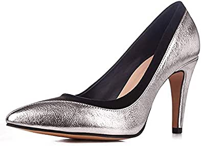 sorliva Stiletto High Heel Shoes for Women,4 inches Women Suede Patent Leather Stitching Prom Shoes Closed Pointy Toe Party Evening Dress Pumps Silver Size: 7