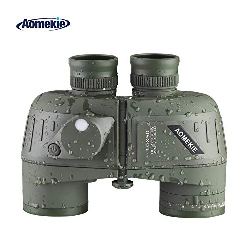 Aomekie Marine Military Binoculars for Adults 10x50 Waterproof Binoculars with Rangefinder Compass BAK4 Prism FMC Lens for Birdwatching Hunting Boating (Green)