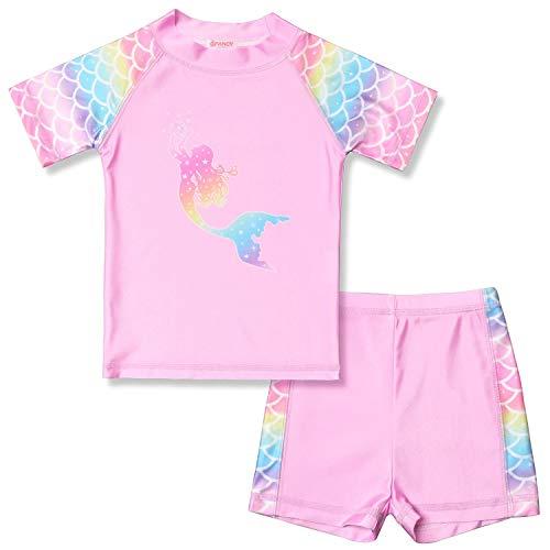 Mermaid Rashguard for Girls 8 9 2-Piece Swimwear Swimsuits Shirt Shorts -