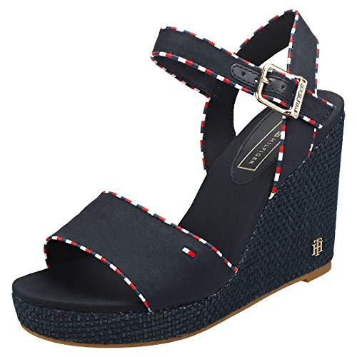 Tommy Hilfiger Corporate Detail High Womens Wedge Sandals in Midnight Navy - 39 EU