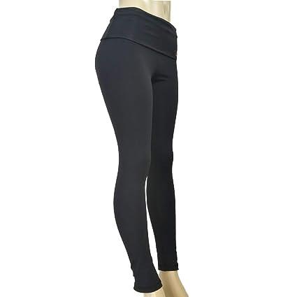 "fda7f4cca1b1a UniqGarb Foldover Uni11 Yoga Leggings Petite 26"" XS Black Heavyweight  Compression"