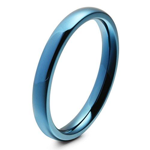 3mm Unisex Domed Titanium Ring Blue Engagement Wedding Band Comfort Fit(9)