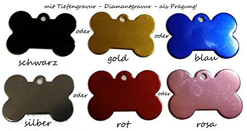 Anhänger fürs Halsband Knochen mit Tiefengravur (zweiseitig) personalisiert m. z.B. Name & Telefonnummer, Adresse ... Katzenmarke , Identifikationsmarke, DogTag