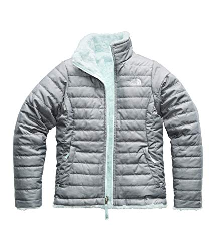 The North Face Girls Reversible Mossbud Swirl Jacket, Medium Grey Heather - XXS