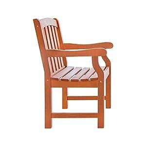 Vifah V211al aire libre madera brazo silla, acabado de madera natural, 25por 24por 91,44cm