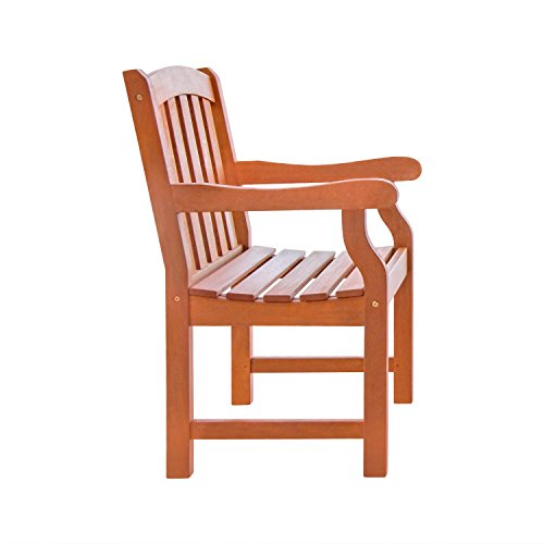 Vifah V211 Outdoor Wood Arm Chair, Natural Wood Finish, 25 by 24 by 36-Inch by Vifah