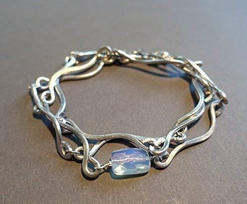 handmade womens lightweight opalite and aluminum wrap bracelet