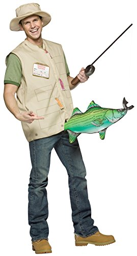 UHC Men's Catch of the Day Fisherman Outfit Funny Theme Halloween Fancy Costume, (Fisherman Costumes For Adults)