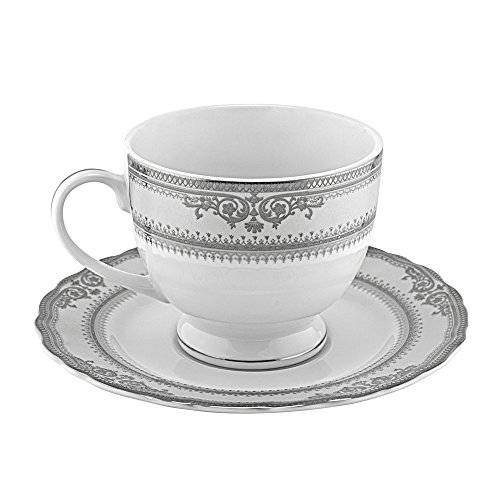 10 Strawberry Street Vanessa 8 Oz Ballet Cup and Saucer, Set of 6, Platinum