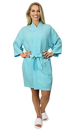 Indulge Premium Linen Women's Thigh Length Waffle Kimono Robe (XX-Large, Light Turquoise) ()