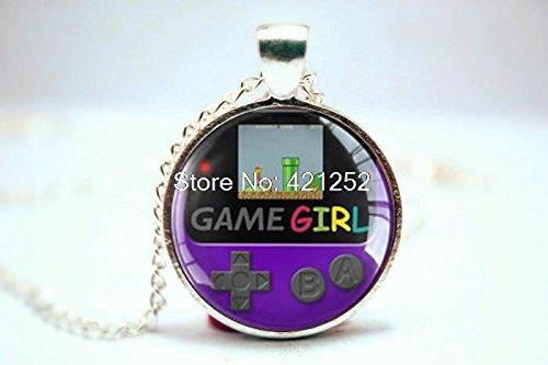 Pretty Lee 2015 Fashion Gamegirl Pendant Gameboy Color Grape Purple Glass Photo Cabochon Necklace Christmas gift