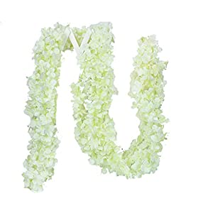 Lannu 5 Pack 13 FT Artificial Hydrangea Flower Vine Wisteria Garland Vines Cattleya Flowers Plants for Home Wedding Party Decor, Cream 1