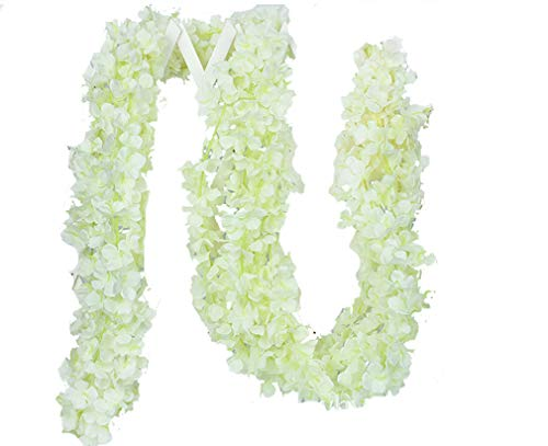 Hydrangea Vine - Lannu 5 Pack 13 FT Artificial Hydrangea Flower Vine Wisteria Garland Vines Cattleya Flowers Plants for Home Wedding Party Decor, Cream