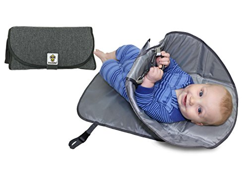(SnoofyBee Portable Clean Hands Changing Pad. 3-in-1 Diaper Clutch, Changing Station, and Diaper-Time Playmat with Redirection Barrier for use with Infants, Babies and Toddlers (Heathered Grey))