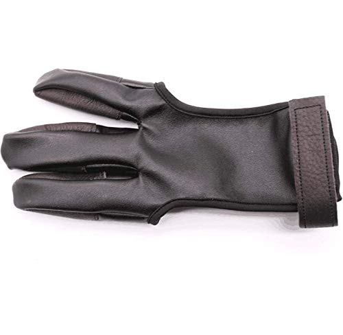 Windfulogo Leather Archery Hand Glove Finger Tab Hand Guard Protector Long Bow for Right Hand 3 Fingers Black
