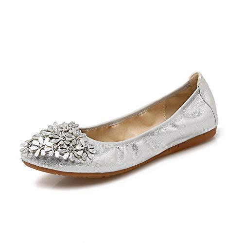 FLYRCX Moda Informal Puntiagudo Fondo Suave Boca Baja Flores Dulces Zapatos Planos Solos Zapatos de Baile Plegables Zapatos de Mujer Embarazada Silver