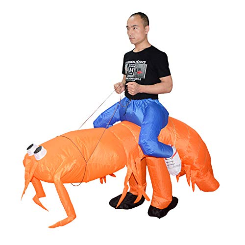 HUAYUARTS Inflatable Costume Orange Shrimp Blow up Costume Fancy Dress Halloween Jumpsuit Cosplay Outfit, Adult
