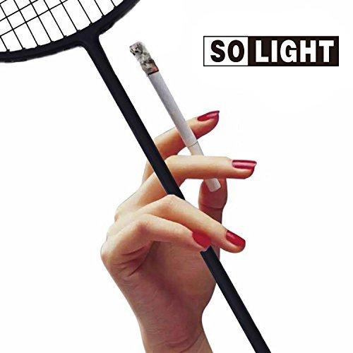 Carbon Fiber Single (Ultra-light Badminton Racket All Carbon Fiber Single Shot Racquet 4U Offensive Defensive Fit For Men and Women Beginners(Black))