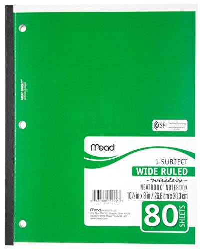 043100052227 - Mead 1-Subject Wireless Notebook, 10.5 x 8 Inches, Wide Ruled, 80 Sheets (05222) carousel main 2