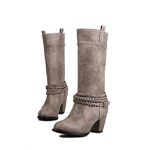 Buckles Knee Boots Retro Womens High Chunky Warm Thigh Grey Fur Boots AIWEIYi Style Ladies Belt High Heel qBnIp