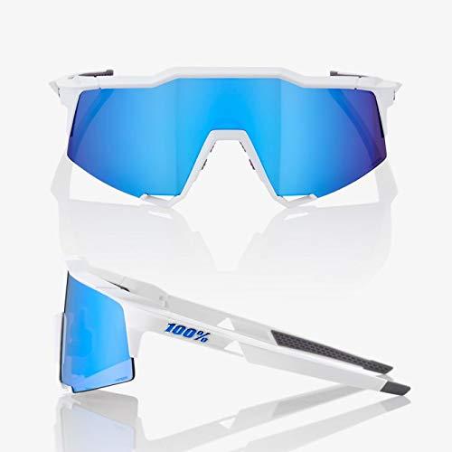 100% Unisex-Adult Speedlab (61001-000-75) Speedcraft-Matte White-HiPER Blue Multilayer Mirror Lens, Free Size