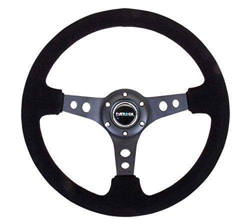 NRG Innovations RST-006-S Reinforced Steering Wheel (350mm Sport Steering Wheel (3' Deep) - Black Spoke Suede Black Stitch)