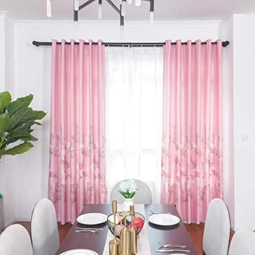 Yucode Flower Embroidery Curtains Room Blackout Noise-Free Grommet Top Curtains Darkening Window Panel Set for Bedroom