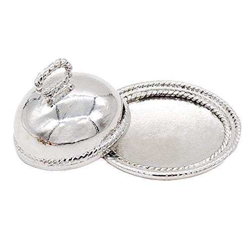 Odoria 1:12 Miniature Sliver Serving Plate Dish with Lid Dollhouse Kitchen Accessories