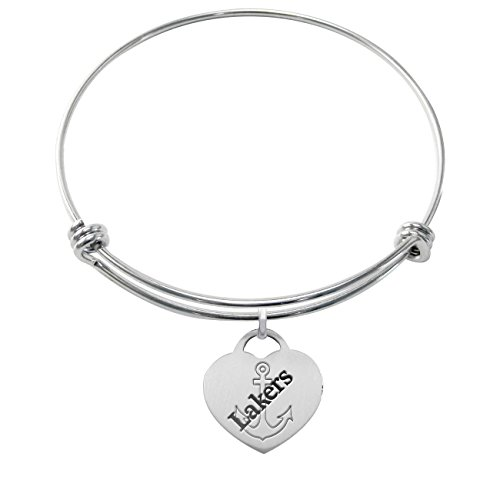 Lake Superior State Lakers Stainless Steel Adjustable Bangle Bracelet with Heart Charm by College Jewelry
